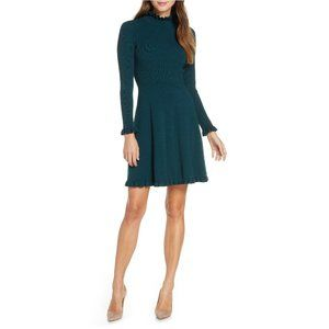 Eliza J Ruffle Trim Long Sleeve Sweater Dress M